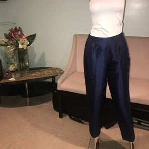 Navy Blue 100% Silk Trousers